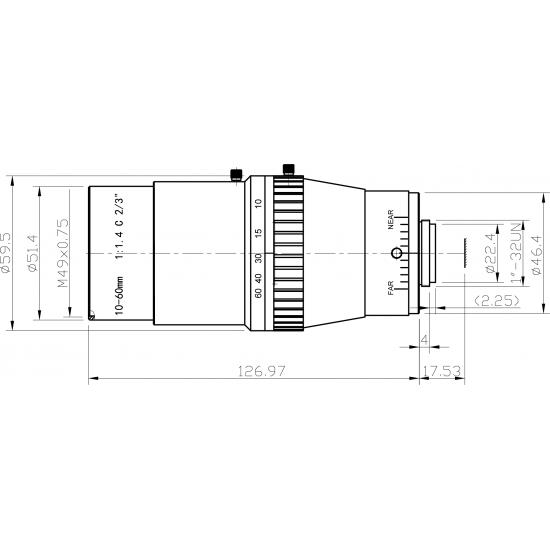 "Objectif monture C à zoom, f:10-60mm, F1.4, 2/3"", 2MP"