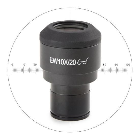Oculaire EWF 10x/22 avec réticule en croix et règle 10/100 (tube diam. 30mm)